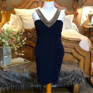 Torrid Body Con Navy Beaded Dress Size 1X